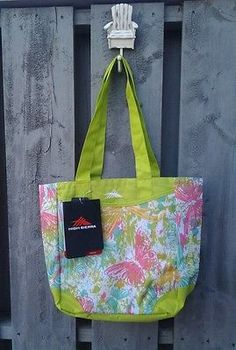 NWT High Sierra Pink and Lime Abigail Tote  Travel Baby Shopping Beach