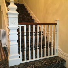 Stair Gates – Horkesley Joinery Ltd Wooden Stair Gate, Wood Baby Gate, Wooden Dog Gates, Diy Baby Gate, Baby Gates, Safety Gates For Stairs, Baby Gate For Stairs, Dog Stairs, House Stairs
