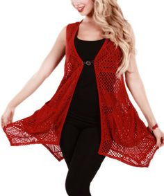 This Red Crocheted Cardigan by Lily is perfect! #zulilyfinds