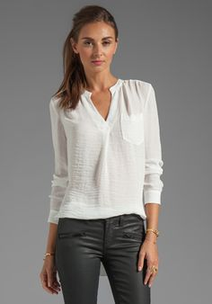 REBECCA TAYLOR Pocket Henley in Cream at Revolve Clothing - Free Shipping!