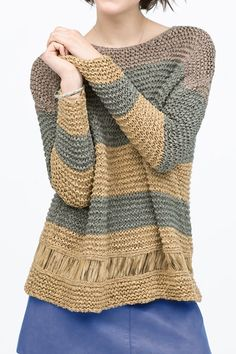 Round Neck Striped Loose Sweater