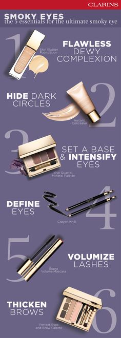 The 6 ultimate smoky eye make-up essentials. Discover more on how to create your perfect look on Clarins.com