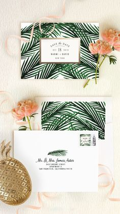 Find a tropical love inspired by Minted artist Elly's stationery designs. Perfect for your destination wedding. Tropical Love wedding save the date, wedding invitation and reception decor on Minted.com.
