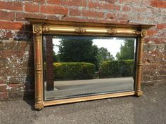 A Superb early Antique Century English carved wood and gesso original gilt Overmantle Mirror - Antique Antique French Mirrors - ornate & crested mirrors Blue Framed Mirrors, Overmantle Mirror, French Mirror, French Antiques, 19th Century, Carved Wood, Carving, Windows, The Originals