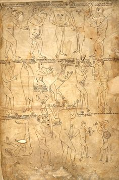 Seventeen examples of the 'monstrous races', Harley 2799 f.243r, c.1175