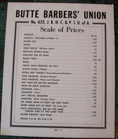 This Barber Shop price list has to make it into our scenic design for #Barbicide