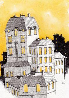 Paris in Yellow, Original Pen and Ink Watercolor Illustration - Duncan Halleck