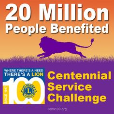 20 million people have already benefited from CSC activities! More information: http://lion.ly/JDjMa ‪#‎Lions100‬