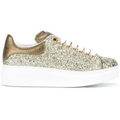 Alexander McQueen glitter extended sole sneakers ($575) ❤ liked on Polyvore featuring shoes, sneakers, green, green sneakers, green leather shoes, alexander mcqueen shoes, glitter shoes and alexander mcqueen sneakers