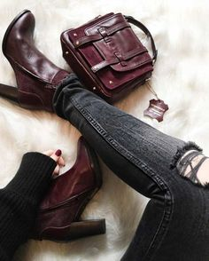 Burgundy bags and shoes combinations – Just Trendy Girls