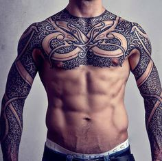 A tattoo version of a Viking Armor in all its splendor, sleek, powerful and beautiful.