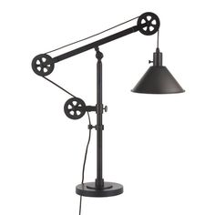 Shop for Carbon Loft Tirith Industrial Farmhouse Table Lamp with Pulley System. Get free delivery On EVERYTHING* Overstock - Your Online Lamps & Lamp Shades Store! Farmhouse Table Lamps, Rustic Lamps, Industrial Farmhouse, Farmhouse Ideas, Industrial Chic, Room Lamp, Desk Lamp, Lamp Table, Lamp Shade Store