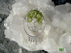 Peridot Tree of Life with crystals Reiki blessed by Krystalins, $65.00