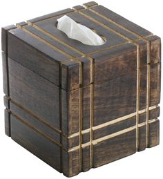 "Rustic Stripes – Handmade 5.5"" Mango-Wood Tissue Holder Box/ Napkin Dispenser with Straight Line Carving"