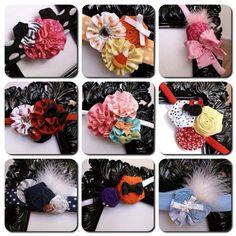 AMS Bows on Etsy Custom Vintage Rosette Flower Cluster Bow Headbands