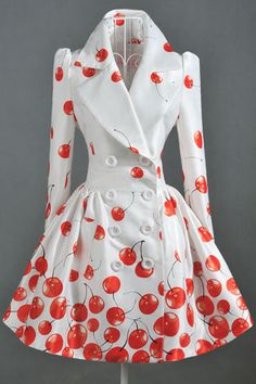 Double Breasted White Coat with Cherry Print