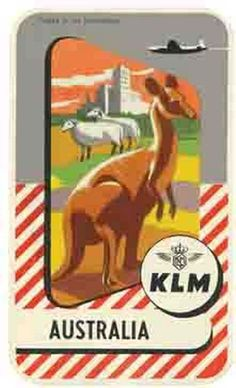 KLM Airlines Australia Vintage 1950's-Style Travel Decal/Sticker/Label in Collectibles, Transportation, Aviation | eBay