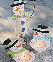 Deko Weihnachten: Schneemann-Tischlichter