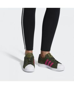 separation shoes 06bc9 22d55 Adidas Superstar Olive Green Pink White Traniers Adidas Superstar Slip On,  Pink Adidas, Adidas