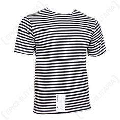 0f705df128d Genuine Russian Navy Black Stripe T-Shirt Top All Sizes Marine Sailor  Telnyashka