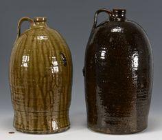2 Southern Alkaline Glaze Stoneware Jugs : Lot 147