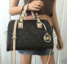 3124b22dca Michael Kors MK Signature PVC Medium Satchel Grayson Tote Crossbody Bag  Brown  Handbagsmichaelkors  michaelkorssatchelbrown