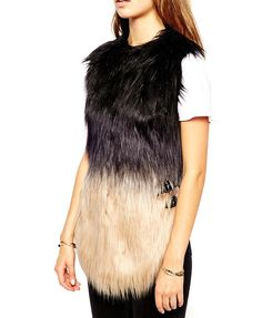 Imitated Fur Contrast Color Vest