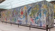 Four Seasons. By Marc Chagall. Mosaic sculpture/ 70 feet long x 14 feet high x 10 feet wide. Location: Exelon Plaza / The Firs. Marc Chagall, Modern Artists, French Artists, Barack Obama, Most Famous Paintings, Modern Paintings, Chagall Paintings, Outdoor Sculpture, Outdoor Art