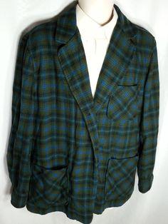 Vtg 50s Pendleton Green Blue PLAID Wool Rockabilly 49er Shirt JACKET Coat L