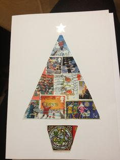 Recycling Christmas cards - made from old Christmas postage stamps (tree) - idea by Sarah Kearsley Christmas Card Crafts, Homemade Christmas Cards, Old Christmas, Christmas Cards To Make, Xmas Cards, Recycled Christmas Cards, Christmas Ideas, Christmas Collage, Simple Christmas