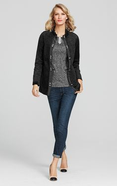This jacket is one of the Love, Carol pieces and is a fabulous way to update your closet...Turn Key Topper, Heritage Stole Pin, Tapered Boyfriend Jean and Cece Shell.  www.julieblum.cabionline.com