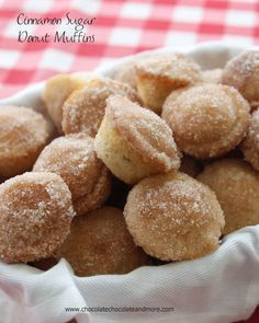 Cinnamon Sugar Donut Muffins-the softness of a donut in the shape of a muffin, covered with cinnamon sugar. Yes please!