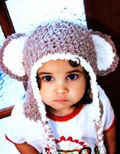 2T to 4T Toddler Monkey Hat, Crochet Monkey Beanie, Brown Cream Monkey Ears, Kids Earflap Hat, Toddler Monkey Photo Prop