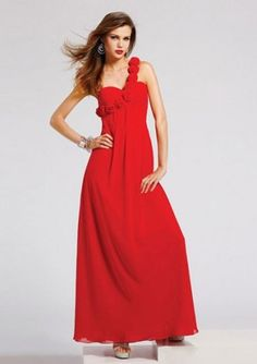 A-line One-shoulder Empire Floor-length Chiffon Wedding Party Dresses