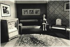 Woman listening to the radio by Laurie Simmons