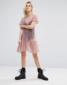 River Island Pleat Hem Smock Dress In Mesh  Super lightweight mesh  Sheer finish  Crew neck  Pleated detail  Smock style  Loose fit – falls loosely over the body  Machine wash  100% Polyester