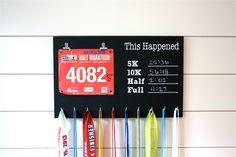 Chalkboard Race Bib and Medal Holder- This Happened - 5K, 10K, Half, & Full