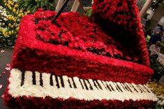 Piano made from flowers