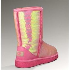 Pink n yellow sparkly ugg boots in luv with them