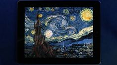 "Starry Night (interactive animation) for iPad by Petros Vrellis. The famous painting ""Starry Night"" of Vincent Van Gogh comes to life! Not only you can watch it move, but you can interact with it! Also, the background music responds to the painting's flows."