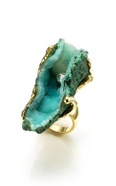 Ring | Karen Ross.  18K gold with raw African green dioptase and .42 carat white…