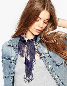 Loved the combination of this neckerchief scarf with denim jacket