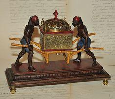 Encrier orientaliste en bronze polychrome XIXe