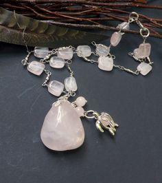 Rose Quartz Necklace Fertility  NecklaceHandmade by by lyrisgems, $45.00