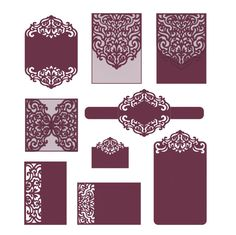 Set  laser cut templates SVG, DXF, CDR, RSVP, Reception, Belly Band Cricut, Silhouette Cameo, Brother Scan n Cut от NarisariDigitalArt