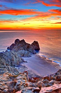~~Lands End Sunrise ~ Sea of Cortez, Cabo San Lucas by Cameron's Personal Page~~ Beautiful Sky, Beautiful Landscapes, Beautiful World, Beautiful Places, Cabo San Lucas, Historical Sites, Lands End, Wonders Of The World, Scenery