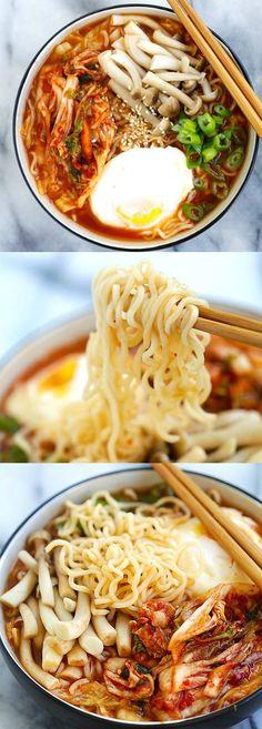 Kimchi Ramen – spicy Korean ramen with kimchi, mushroom and poached egg. Easy kimchi ramen recipe that takes only 15 mins to make   rasamalaysia.com