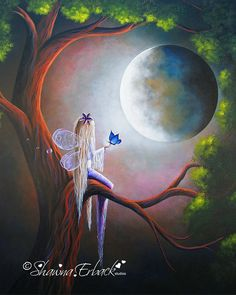 Fairy with Butterfly Up in tree by shawna erback