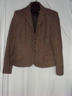 Womens Chaps Ralph Lauren Brown Tan Tweed Herringbone Blazer Jacket Size: XL  #RalphLauren #Blazer