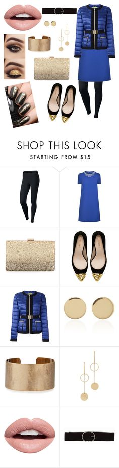 """""""Blue Puffer Jacket for a Night Out"""" by en0053h ❤ liked on Polyvore featuring NIKE, Boutique Moschino, Neiman Marcus, Zara, Versace, Magdalena Frackowiak, Panacea, Cloverpost, Nevermind and Vero Moda"""